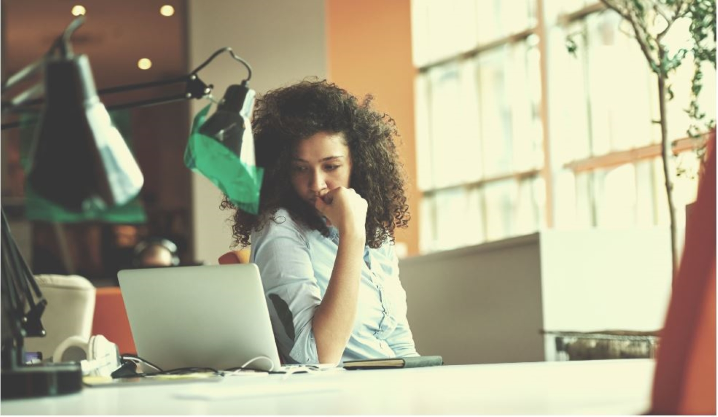young woman using Microsoft Office